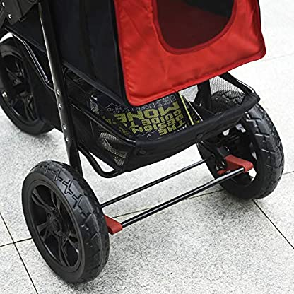 PawHut Folding Pet Stroller 3 Wheel Dog Jogger Travel Carrier Adjustable Canopy Storage Brake Mesh Window for Small Medium Dog Cat Red 6