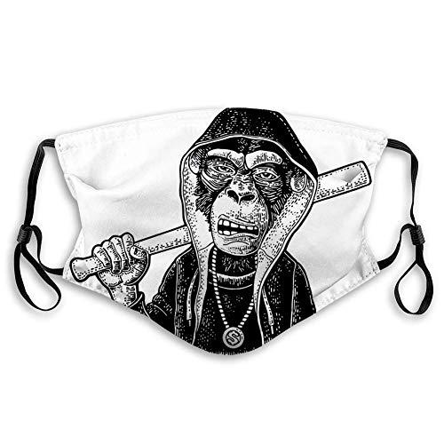 Mundschutz Face Cover Wiederverwendbarer waschbarer Schildschal (2 Filter) Monkey Raper Dressed Die Hoodie-Halskette mit Dollar Holding Baseballschläger Vintage Black Gravur