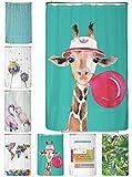 arteneur® - Giraffe - Anti-Schimmel Duschvorhang 120x200 - Beschwerter Saum, Blickdicht, Wasserdicht, Waschbar, 12 Ringe und E-Book mit Reinigungs-Tipps