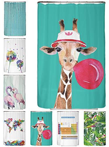 arteneur® - Giraffe - Anti-Schimmel Duschvorhang 120x200 - Beschwerter Saum, Blickdicht, Wasserdicht, Waschbar, 8 Ringe und E-Book mit Reinigungs-Tipps