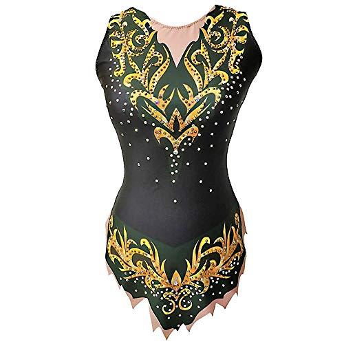 Kmgjc - Body da ginnastica ritmica, da donna, ad alta elasticità, realizzato a mano, con strass, senza maniche, per allenamento, danza, pattinaggio, colore: nero, XL