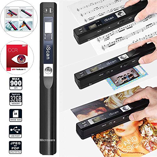 Microware Portable Scanner iSCAN 900 DPI A4 Document Scanner Handheld for Business, Photo, Picture, Receipts, Books, JPG/PDF Format Selection, Micro SD Card Hand Scanner