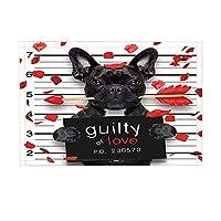 HiYash バレンタインデーバスラグブルドッグ犬とキューピッドの矢Roseleaf Guilty OF Love滑り止め玄関マットフロア玄関屋内正面玄関マットキッズバスマット15.7x23.6inバスルームアクセサリー