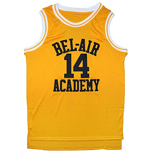 Afuby Bel Air Academy Jersey #14 Basketball Jerseys S-XXXL (Yellow, M)