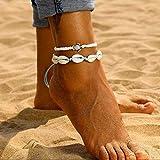 Aukmla Boho Pulseras de tobillo Blue Seashell Capas Tobilleras Pulsera Cuerda Tortuga Pie Joyas para mujeres y niñas
