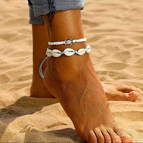 Genglass Boho coquillage couches mer Bracelets de cheville de tortue Bracelets de cheville White Beach pied Bijoux de la chaîne pour les femmes et les filles (pack de 2)