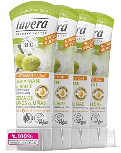Lavera Crema de Manos y Uñas con Aceite de Oliva Bio y Manzanilla - vegano - cosméticos naturales 100% certificados - cuidado de la piel - 4 Recipientes de 75 ml