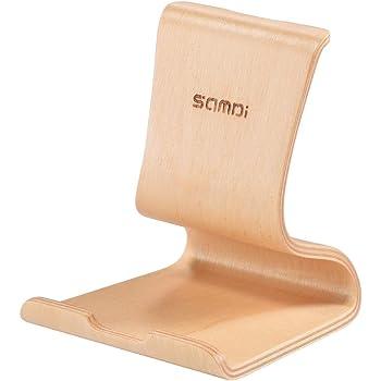 SAMDI 木製スマートフォンスタンド 縦式、 iPhone 6 6s 7 Plus 5 5s 5c, Samsung Galaxy S5 S7 S6.など対応、横式携帯電話スタンド、 スマホホルダー 天然木 一体式スタンド(バーチ)