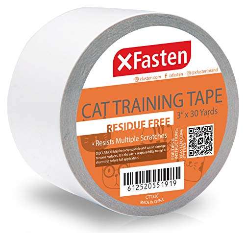 XFasten Anti-Scratch Cat Training Tape, 3-Inches x 30-Yards - Door, Couch, Furniture and Leather Scratch