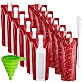 12 Pieces Foldable Plastic Wine Bags Plastic Wine Flasks Travel Pouches Wine Bottle Pouches with Collapsible Funnel and Bottle Cleaning Brush for Wine Liquor Beverages Travel Party Home Kitchen