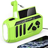 【2021 Newest】Emergency Solar Hand Crank Radio, 5000mAh Weather Radio, NOAA/AM/FM Portable Radio with 3W LED Flashlight/Reading...
