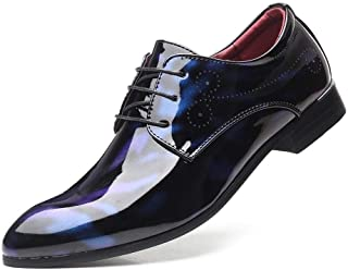 Men's Shoe Leather Oxford Men's Patent Oxfords Business Shoes Lace up Faux Leather Dress Party Low Top Carving Pointed Toe Shoes Anti-Slip Rubber Outsole (Color : Blue, Size : 7.5 UK)