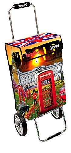 James® Einkaufstrolley Design London Deluxe, moderner Einkaufswagen, bunter Lifestyle Trolly, Rollkoffer, 40kg Tragkraft, klappbar, Made in EU!