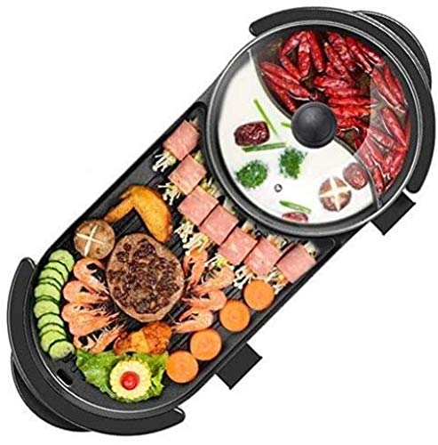 BBQ Hot Pot Multifunctioneel Lichaam Geïntegreerde Verwarming Hot Pot 5 snelheden Intelligente aanpassing Rookloos Antiaanbak Barbecue Siamese Pot Elektrische barbecue (upgrade)