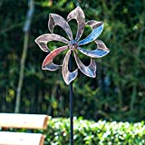 SteadyDoggie Wind Spinner Dahlia 155cm (61in) Single Blade Easy Spinning Kinetic Wind Spinner for Outside – Vertical Metal Sculpture Stake Construction for Outdoor Yard Lawn & Garden (Gold)