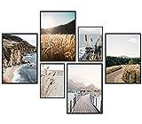Premium Poster Set, 6 Bilder als stilvolle Wanddeko, wandbilder für wohnzimmer schlafzimmer flur Büro deko, modern bild für wand dekoration,wandbild,wandposter Ohne RAHMEN
