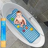 Heimelig ® Badewannenmatte für Kinder und Erwachsene - Dermatest Siegel - 100cm x 40cm Antirutschmatte Badewanne mit Saugnäpfen - geruchsneutral - inklusive 4 Klebehaken zum Aufhängen und Trocknen