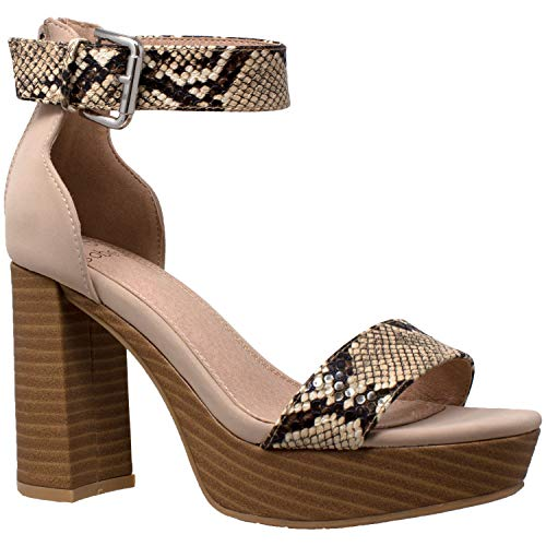 SOBEYO Women's Platform Sandals Ankle Strap Chunky Block High Heels Open Toe Shoes Taupe Snake Skin Size 8