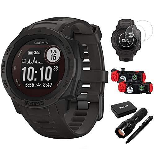 Garmin 010-02293-10 Instinct Solar Rugged Outdoor Watch with GPS Graphite Bundle...