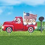 MSR Solar Powered Patriotic Puppy Pickup Truck Garden Stake