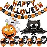 Jonami Hallowen Decorazioni Halloween Kit Casa - Festone di Palloncini Happy Halloween, Pipistrello e Fantasma Gigante, Ghirlande di Zucche e Palloncini Neri Arancioni