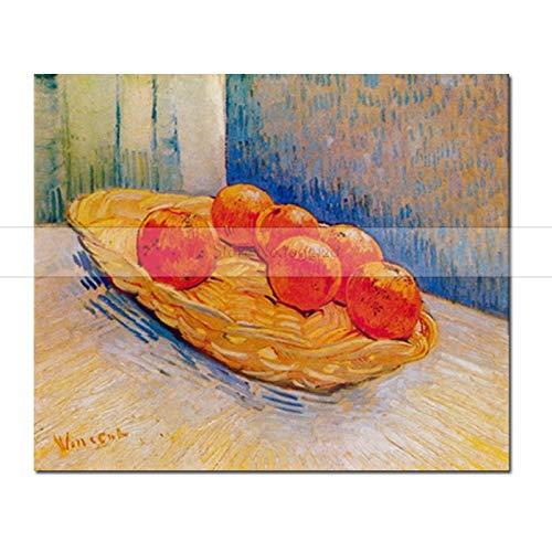 CHASOE Korb Mit Sechs Orangen Von Vincent Van Gogh Reproduktion Handgemachtes Ölgemälde Auf Leinwand Wandkunst Für Küche 60X80 cm