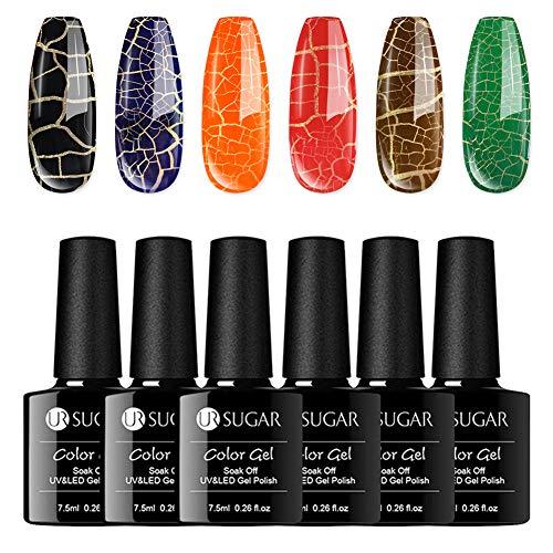 UR SUGAR 7,5ml Knistern Gellack UV Cracking Nagellack Set Leuchtend Gel Nägel Set Anfänger Crackle...