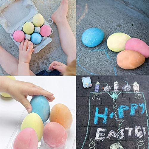 Easter Egg Shaped Sidewalk Chalk, 6 Piece,6 Colors Dustless Chalk Markings Non-Toxic No Odor Washable Art Play, School and Craft Supplies Gift for Kids Adult Outdoor Activities