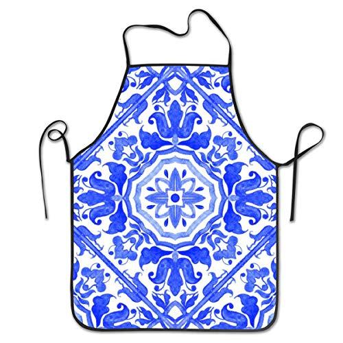 Azulejos portugueses Azul y Blanco Patrones Preciosos Delantal de Cocina para Mujeres Hombres Novedad Barbacoa Cocina Delantal Divertido 52 x 72 cm / 28,3 x 20,5 Pulgadas