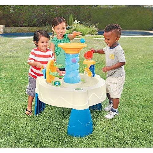 Little Tikes Spiralin' Seas Mesa con Parque Acuático Juguete para Exteriores, Fomenta el Juego Activo e Imaginativo, Incluye 5 Pelotas y una Taza, Para Niños de 24 Meses a 6+ Años