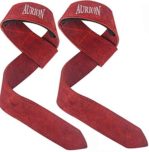 """Aurion Fitness 1.5"""" Premium Genuine Leather Lifting Wrist Straps for Men and Women Wrist Support 19"""" in Length"""