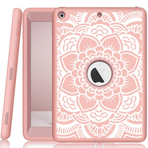 iPad 5th/6th Generation Case, Hocase Heavy Duty Shock Absorbent Rubber+Hard Plastic Dual Layer Protective Case w/Mandala Floral Print and Kickstand for iPad 9.7 2018/2017 - Rose Gold