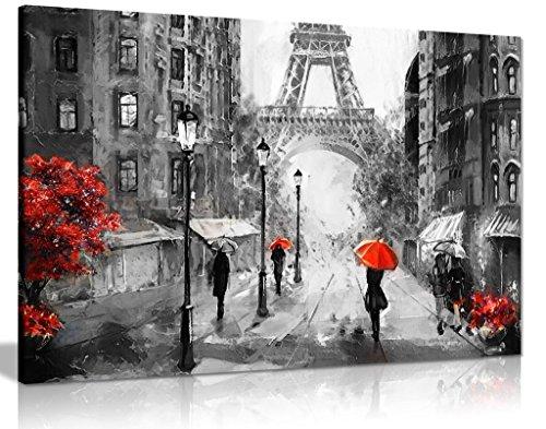 Kunstdruck auf Leinwand, Motiv: Paris Eiffelturm, Straßenansicht, 61 x 40,6 cm, Schwarz/Weiß/Rot