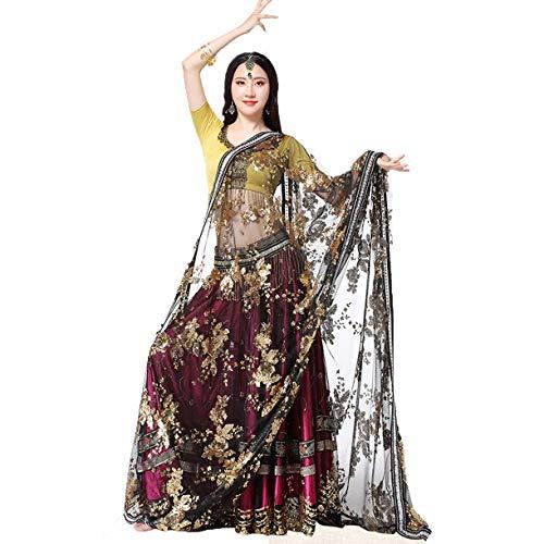 Rongg Bauchtanz Kleid Performance Kleidung für Frauen Indischer Sari Tanzrock Tanzwettbewerb Kostüm Satz 4 Stück, M