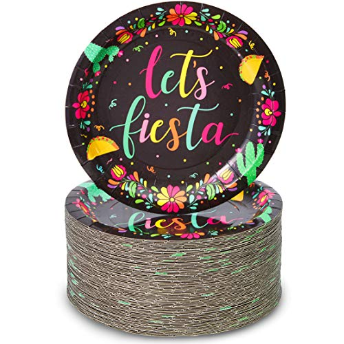 Let's Fiesta Cinco de Mayo Party Plates (Black, 7 Inches, 80 Pack)