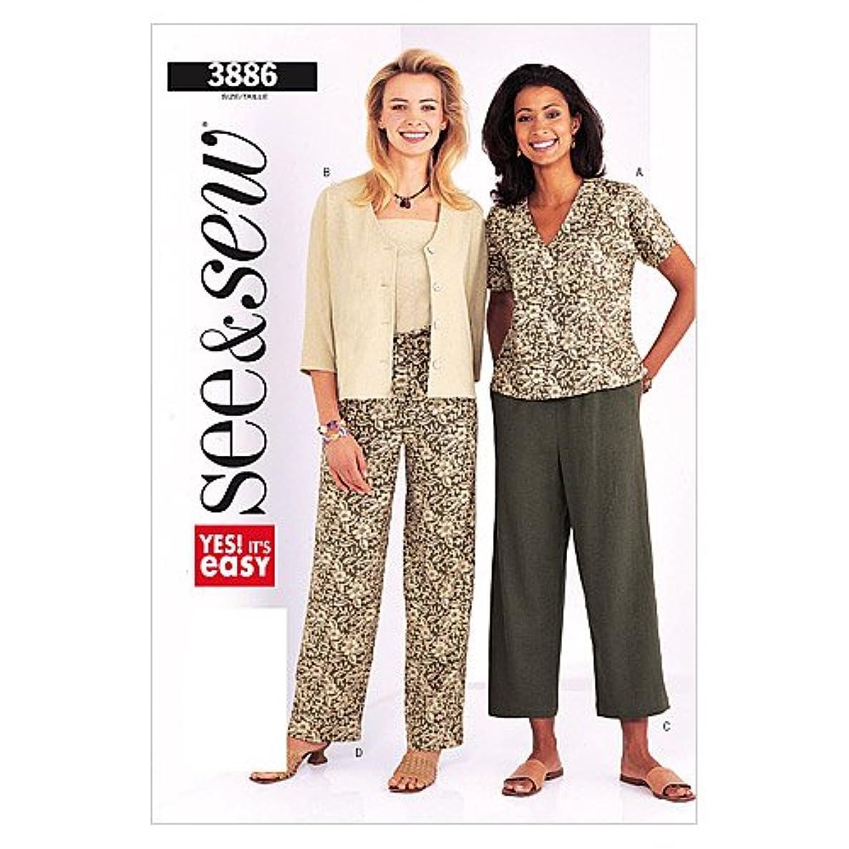 BUTTERICK PATTERNS B3886 Misses'/Misses Petite Jacket & Pants, Size B (14-16-18)