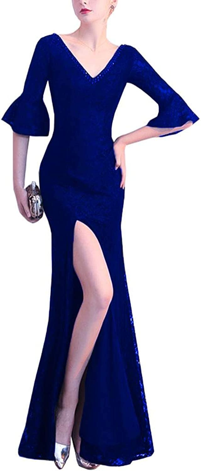 Yisha Bello Women's Lace V Neck Mermaid Evening Pro Dress Long Beaded Slit Half Sleeve Formal Gowns