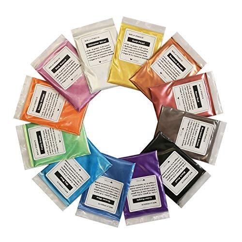 VITORY Pigment-Puder, Epoxidharz Farbe (12 Farben 10g / 0,35 unzen je) Huge mica Set metallic-Effekt für die epoxy-Harz-farbpigment - seifenherstellung kit - Bad bomben Colorant - Packung b