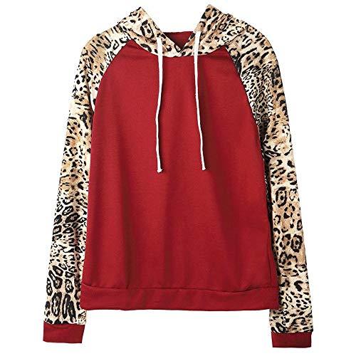 Damen Langarm Sweatshirt MYMYG Mode Frauen Lange Leopard Ärmel Patchwork mit Kapuze lose Sweatshirt Bluse(rot,EU:40/CN-XL)