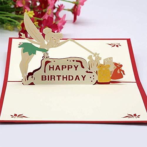 Geburtstagskarte 3D Pop up Grußkarte,3D Pop Up Geburtstagskarte mit Umschlag Handgefertigt Geschenkkarte Lasergeschnittene Geburtstagskarten(Mädchen)