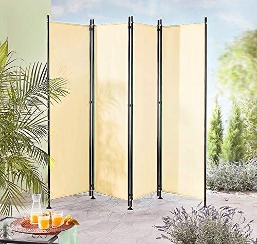 IMC Paravent 4-teilig beige Raumteiler Trennwand Sichtschutz, faltbar/flexibel verstellbar, wetterfester Polyester-Stoff, Schwarze Metallstangen