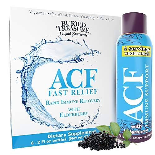 Buried Treasure ACF Advanced Immune Response with Vitamin C, Elderberry, Echinacea and Herbal Blend for Complete Rapid Immune Support Dietary Supplement | Package of 7 2 oz Bottles | 14 Servings