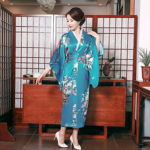 CDDKJDS Vestido Suelto Estampado Yukata Y Traje De Etapa Negra Vestido De Albornoz Sexy Mujer Kimono (Color : Lack Blue Style A, Size : XL)