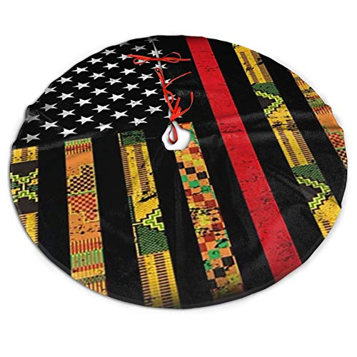 Hkdfjg Kente US African American Flag2 Christmas Tree Skirt Tree Mat Xmas Holiday and Winter New Year House Decoration,Home Party Trees Dress Ornaments Holiday Party Mat Indoor Outdoor