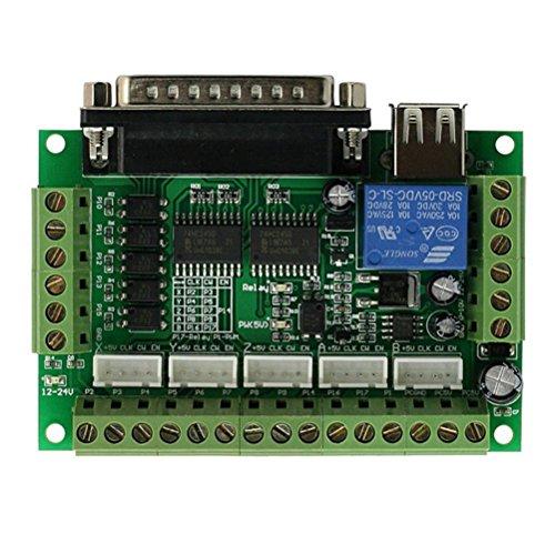 UEETEK 5 Achsen CNC Breakout Board mit Optokoppler für Schrittmotortreiber MACH3 / EMC2 / KCAM4 (Grün)