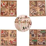 24 Piezas 8 Diseños Diferentes Decoración para Árbol de Navidad, Colgante Navideño de Madera, Adornos para Árboles de Navidad Colgante, DIY Decoraciones Colgantes Navideñas, para Árbol de Navidad