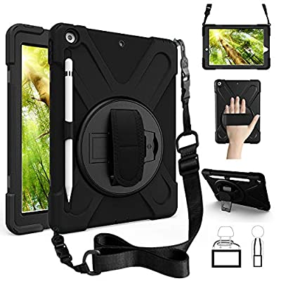 ZenRich New iPad 10.2 Case 2019, iPad 7th Generation Case with Pencil Holder Stand Hand Strap and Shoulder Belt, zenrich Shockproof Case for iPad 10.2 inch 2019 Tablet A2197/A2198/A2199/A2200-Black from zhenfa
