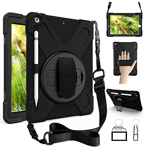 ZenRich New iPad 10.2 Case 2019, iPad 7th Generation Case with Pencil Holder Stand Hand Strap and Shoulder Belt, zenrich Shockproof Case for iPad 10.2 inch 2019 Tablet A2197/A2198/A2199/A2200-Black