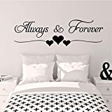 YOKIKI Always & Forever Wall Sticker Home Decor for Living Rooms Decoration Wall Decal Quotes for Bedroom Wall Decor Decals