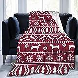 Colin Design Manta de forro polar de franela de 80 x 60 pulgadas, para todas las estaciones Basenji Fair Isle, silueta de Navidad, para perro, cama, sofá, coche, oficina, camping